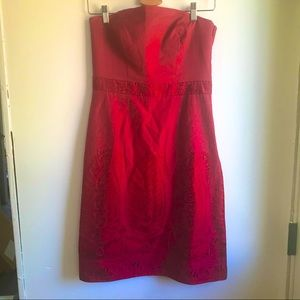 Ann Taylor Staples embroidered strapless dress